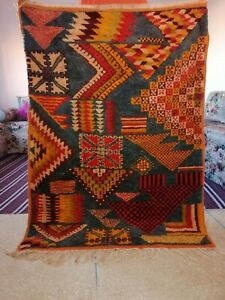 Beni Ourain Rug Vintage Authentic Berber Carpet Moroccan Handmade knotted Wool