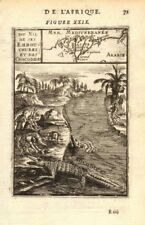NILE DELTA. Map showing towns. River view with crocodiles. Egypt. MALLET 1683