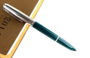 Brand new silver and green colored fountain pen Hero 616