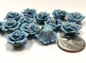 """Porcelain Flowers 20 mm 0.75"""" Flat Back for DIY Craft Embellishment 50 pcs Blue"""
