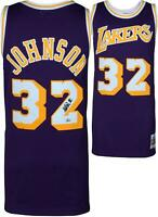 Magic Johnson Lakers Autographed Purple M&N HWC Swingman Jersey - Fanatics