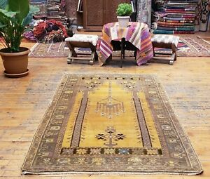 """Fine Antique Cr1900-1939's Muted Natural Dye 3'5""""×6' Wool Pile Oushak Prayer Rug"""