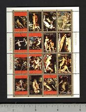 Ajman Famous Nude Paintings mini sheet of 16 stamps CTO Birth of Venus