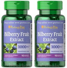 2X Puritan's Pride Bilberry Fruit Extract 1000mg 90 Softgel Improves Eye Vision