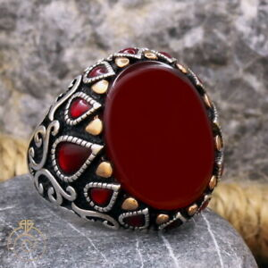 Aqeeq Men Mid Century Ring Silver Agate Gemstone Gift Antique Mens Medieval Ring