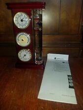 Vintage Weather Station Barometer Analog Hygrometer Thermometer Wood Clock NEW