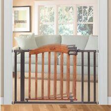 Baby Safety Gate Wood Metal Brown Decorative 5 Ft Pressure Wide Mount Dog Walk