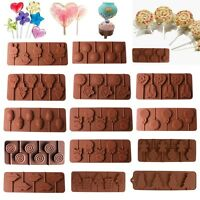 Lips Lollipop Cake Mold Flexible Silicone Mould For Candy Chocolate+Sticks NEW