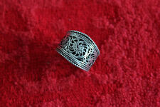 Vintage Adjustable Tibetan Silver Delicate Lotus Filigree Amulet Ring (16000078)