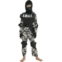 SWAT Team Vest Costume Accessory Kids Police Cop Halloween Soldier Fancy Dress