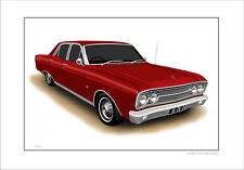 FORD  ZB  FAIRLANE  500  LIMITED EDITION CAR DRAWING PRINT  (  6  CAR COLOURS )