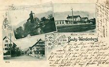 Switzerland Buchs-Werdenberg - Bahnhof 1904 triple vignette postcard