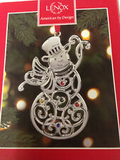 Lenox Snowman Ornament from the Sparkle and Scroll Ornament Collection New
