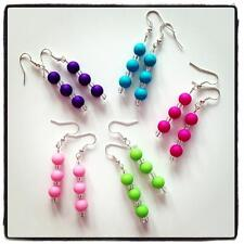 Cute Girl Drop Dangle Earrings Colorful Acrylic Beads Fuchsia Green Blue Purple