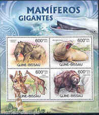 GUINEA BISSAU 2012 GIRAFFE ELEPHANT WHALE BEAR GIANT MAMMALS SHEET MINT NH