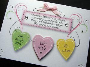 Handmade Personalised Baby Girl 'Hearts' Card