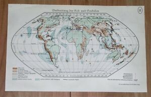 1938 ORIGINAL VINTAGE MAP OF THE WORLD EARTHQUAKES VOLCANOES SEISMIC AMERICA