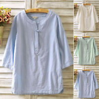 UK Vintage Womens Cotton Linen Blouse Shirt Flax 3/4 Sleeve Tunic Top Loose Tops