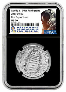 2019 D Apollo 11 50th Clad Half Dollar NGC MS70 FDI Label Astronaut Black Core