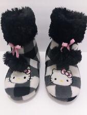 Girls Fluffy Warm Hello Kitty Sleepers Boots Sz S (5-6) Winter Cozy Sleepers EUC