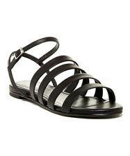 New Charles David Made in Italy Black Leather Flat Sandals, Size 38 (7)