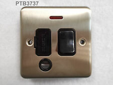 DETA 13A SWITCHED FUSED CONNECTION UNIT WITH NEON BLACK INSERTS SATIN CHROME