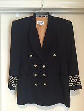 SOLINI NY Black Jacket Blazer Rhinestone Buttons Embroidered *LOOK* Size 4 EUC