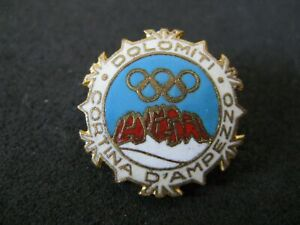 Vintage 1956 Cortina D Ampezzo Winter Olympic Games Official Logo Pin Badge