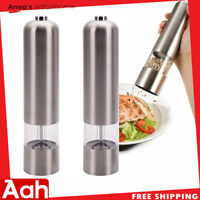 2PCS Automatic Electric Pepper Mill Salt Grinder Stainless Steel Adjustable Cook