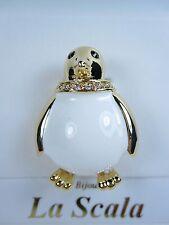 La Scala Gold Plated Penguin Brooch with Swarovski Crystals & White Enamel