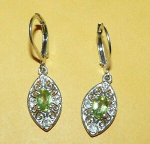 "~""STS""~CHUCK~CLEMENCY~STERLING~SILVER~""925""~w/~PERIDOT~DIAMOND'S~DANGLE~EARRINGS"