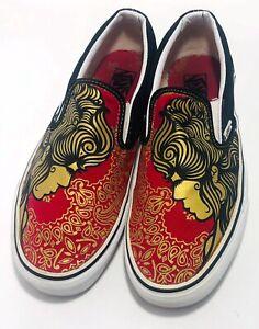 Vans Slip-on Gold Face Red Black Shoes Men 8.5 Women 10