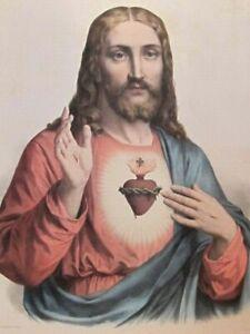 Sacré Coeur de Jésus Christ  Grande Litho en couleurs   L. TURGIS Paris
