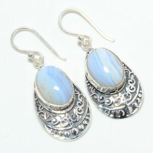 "Fine Art Namibian Blue Lace Agate 925 Sterling Silver Earring 1.56"" T2799"