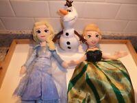"Lot 3 Disney Parks FROZEN Ty Sparkle 14"" Elsa Anna topsy turvy Olaf Plush Dolls"