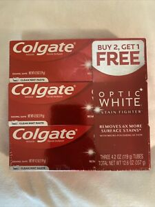 3 Colgate Stain Fighter OPTIC WHITE Clean Mint Paste 4.2 oz New In Package