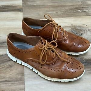 Cole Haan ZeroGrand Brown Perforated Leather Wingtip Dress Casual Shoe Men 8.5