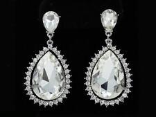 """2 1/4"""" Long Large Silver Tone Clear Rhinestone Teardrop Chandelier Earrings"""