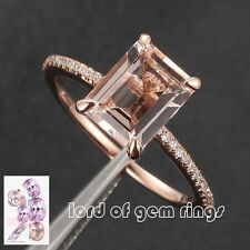 6x8mm Emerald Cut Morganite H/SI Diamond Claw Prongs 14K Rose Gold Wedding Ring