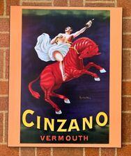 "CINZANO Vermouth Wine Poster by L.Cappiello on Wood Board 16"" x 20"""