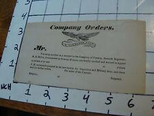 VINTAGE Original UNUSED--COMPANY ORDERS N.H. Militia 7th regiment pre CIVIL WAR