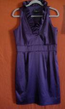 JUST TAYLOR purple Satin Cocktail DRESS sz 10 M ruffle neck evening wedding