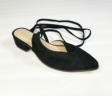 New Raye Kaye Wraparound Tie Ankle Mule Suede Womens Shoes Size 7.5 Brand New