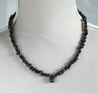 """BLACK SPINEL & BLUE SHEEN LABRADORITE PENDANT NECKLACE 18"""" ~ 925 STERLING SILVER"""