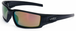 Uvex Hypershock Safety Glasses Black Frame Red Mirror Lens