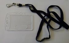 Durable Security Pass Badge Holder and Lanyard - Hard Acrylic Ultra Clear