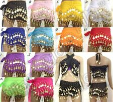 Women 3 Rows Belly Dance Hip Skirt Scarf Wrap Belt Chain with Tone Coins Beads