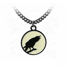 Necklace collier Alchemy Gothic Caw at the Moon Raven Corbeau Lune Gothique