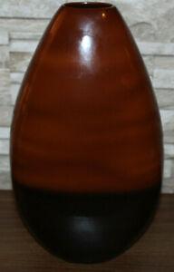 "14"" Brown and Black Vase - Oval Decorative Vase - Flowers, Art Deco"