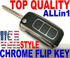 CHROME FLIP KEY REMOTE FOR FORD KEYLESS 80BT ENTRY TRANSPONDER CHIP FOB CLICKER